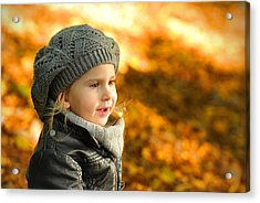 Little Girl In Autumn Leaves Scenery At Sunset Acrylic Print by Waldek Dabrowski