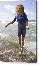Little Girl Jumping In The Surf In Lake Michigan Acrylic Print