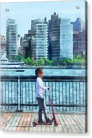Little Girl On Scooter By Manhattan Skyline Acrylic Print by Susan Savad