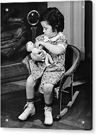 Little Girl Playing With Doll Acrylic Print by George Marks