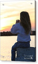 Little Girl Sitting On Rocks Acrylic Print by Christopher Purcell
