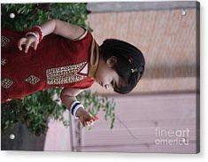 Little Girl With Flower Acrylic Print by Muhammad Junaid Rashid