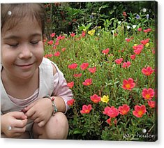Little Girl With Flowers Acrylic Print by Gary Heiden