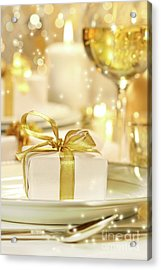 Little Gold Ribboned Gift Acrylic Print by Sandra Cunningham