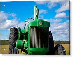 Little Green Tractor Acrylic Print