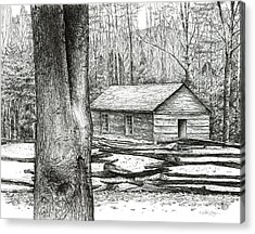 Acrylic Print featuring the drawing Little Greenbrier School House by Bob  George