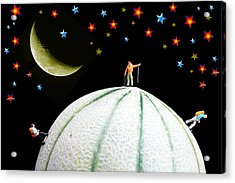 Little People Hiking On Fruits Under Starry Night Acrylic Print by Paul Ge