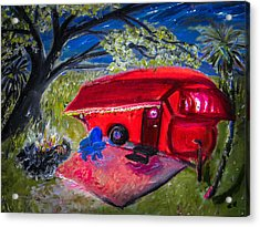 Little Red Camper Acrylic Print by Christy Usilton