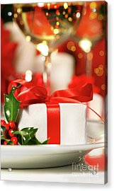Little Red Ribboned Gift Acrylic Print by Sandra Cunningham