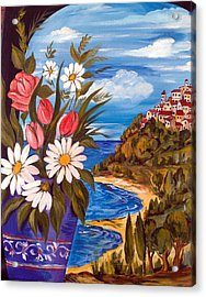 Acrylic Print featuring the painting Little Village by Roberto Gagliardi