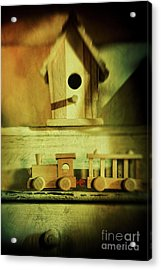 Little Wooden Train On Shelf Acrylic Print by Sandra Cunningham