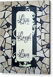 Live-laugh-love Tile Acrylic Print by Cynthia Amaral