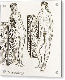 Live Nude 19 Female Acrylic Print by Robert SORENSEN