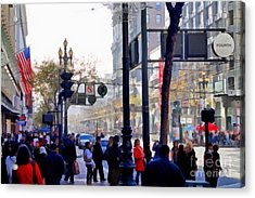 Lively Market Street In San Francisco . 7d4268 Acrylic Print by Wingsdomain Art and Photography