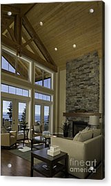 Living Room With Cathedral Ceiling Acrylic Print by Robert Pisano