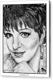 Acrylic Print featuring the drawing Liza Minnelli In 2006 by J McCombie