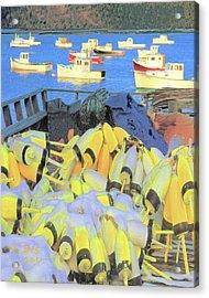 Acrylic Print featuring the digital art Lobster Buoys by Richard Stevens
