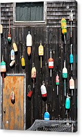 Acrylic Print featuring the photograph Lobster Shack With Brightly Colored Buoys by Karen Lee Ensley