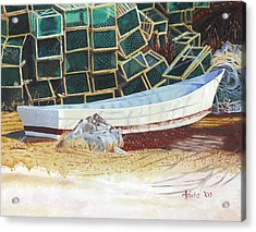 Lobster Traps And Dory Acrylic Print