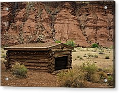 Log Cabin In The Desert Acrylic Print