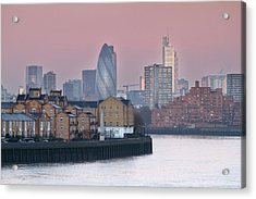 London City View Down Thames Acrylic Print by SarahB Photography