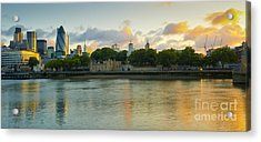 London Cityscape Sunrise Acrylic Print by Donald Davis