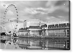 London Eye In Black And White Acrylic Print by Julie L Hoddinott