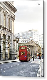 London Street With View Of Royal Exchange Building Acrylic Print