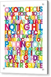 London Text Bus Blind Acrylic Print by Michael Tompsett