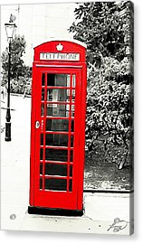 London's Red Booth Acrylic Print by ABA Studio Designs