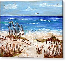 Acrylic Print featuring the painting Lone Gull by Jeanne Forsythe