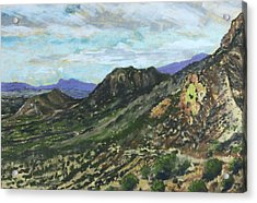 Acrylic Print featuring the painting Lone Mountain by Drusilla Montemayor
