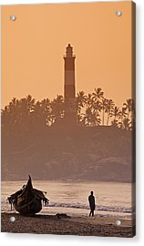 Lone Person Walking Along Lighthouse Beach In Early Morning Acrylic Print by Anders Blomqvist
