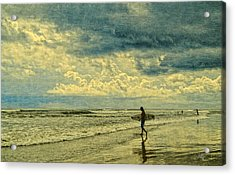 Lone Surfer Acrylic Print by Barbara Middleton