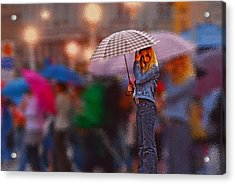 Lonelyredhead In The Rain Acrylic Print by Don Wolf