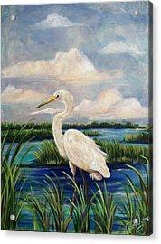 Lonesome Egret Acrylic Print by Doralynn Lowe