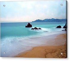 Long Exposure Of Blue Sea Acrylic Print by Federica Fortunat