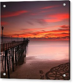 Long Exposure Sunset At The Oceanside Acrylic Print