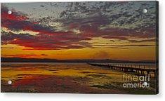 Long Jetty On Fire Acrylic Print by Bryan Freeman