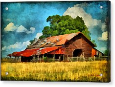 Acrylic Print featuring the painting Long Road Barn by Lynne Jenkins