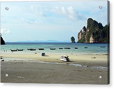 Long Tail Boats In Bay Of Phi Phi, Thailand Acrylic Print by Thepurpledoor