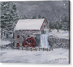 Longfellow's Grist Mill In Winter Acrylic Print