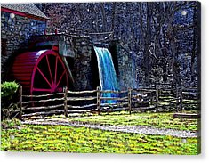 Longfellow's Wayside Gristmill Painting 2 Acrylic Print by Earl Jackson