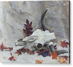 Longhorn With Leaves Acrylic Print