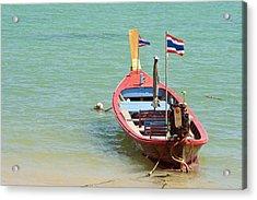 Longtail Boat At Sea Acrylic Print by Bill Brennan