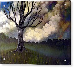 Acrylic Print featuring the painting Lonsome Tree 0001 by Monica Furlow