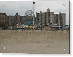 Looking Across The Beach To The Ferris Acrylic Print by Todd Gipstein