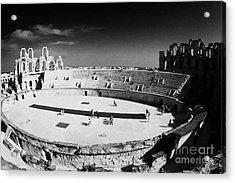 Looking Down On Main Arena Of Old Roman Colloseum El Jem Tunisia Acrylic Print by Joe Fox