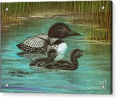 Acrylic Print featuring the painting Loon Babies With Mother Judy Filarecki Pastel Painting by Judy Filarecki
