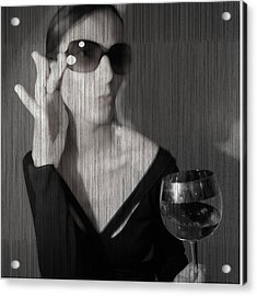 Loren With Wine Acrylic Print